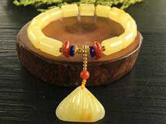 原创设计新密桶珠单圈手链,蜜蜡直径8mm