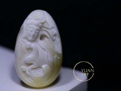 王海笑大师作品,悟道,瓷白花蜡质,实物漂亮,雕工精湛
