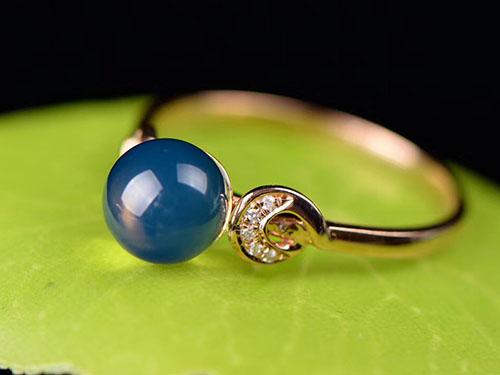 多米尼加蓝珀戒指,净水天空蓝品质